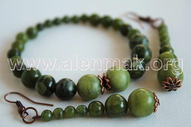 Гривна и обеци от Нефрит - Зелените поля на моя роден дом