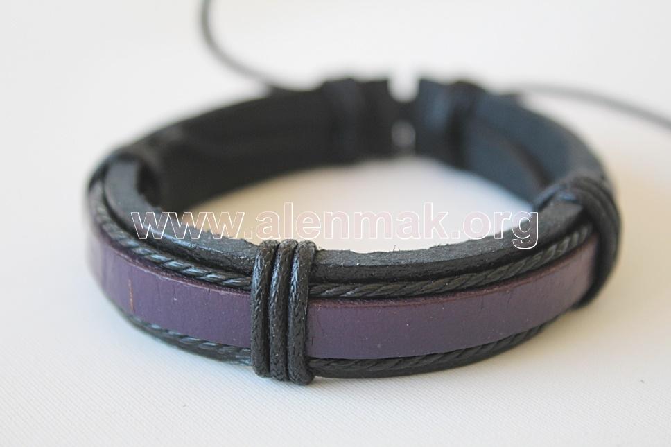 Кожена Гривна - Храброст - черно и лилаво