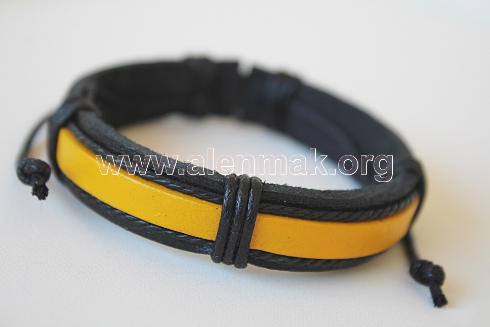 Кожена Гривна - Храброст - черно и жълто